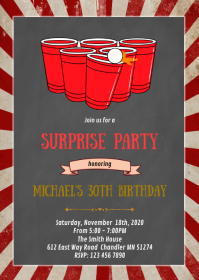 Beer pong birthday party invitation