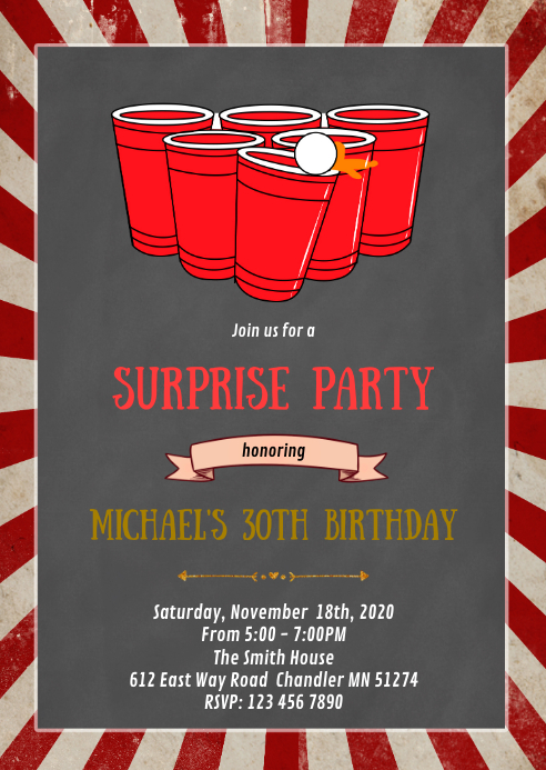 Beer pong  birthday party invitation A6 template