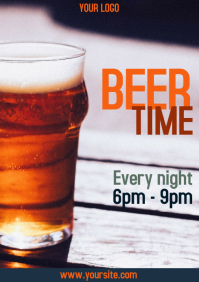 Beer time flyer bar promo a4