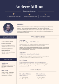 Beige and Blue Modern Resume A4 template