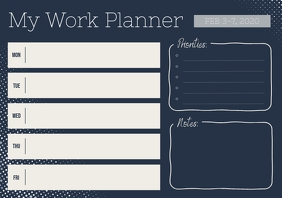 Beige and Blue Weekly Work Planner