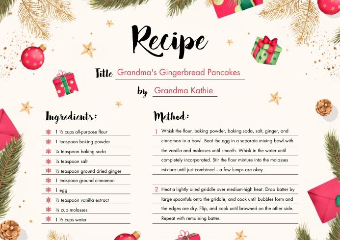 Beige Christmas Recipe Card A4 template