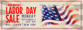 Beige Labor Day Sale Facebook Cover Photo Facebook-omslagfoto template