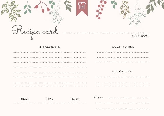 Beige Modern Landscape Recipe Card