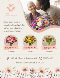 Beige Mother's Day Flower Retail Flyer Volantino (US Letter) template