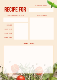 Beige Recipe Card