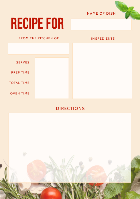 Beige Recipe Card A4 template
