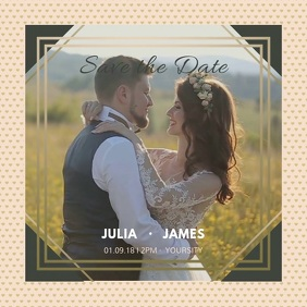 Beige Save the Date Square Video