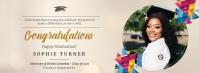 Beige virtual graduation party Facebook cover Ikhava Yesithombe se-Facebook template