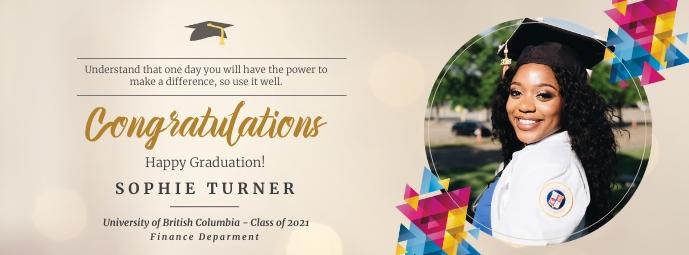 Beige virtual graduation party Facebook cover template