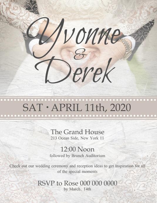 Beige Wedding Invitation Flyer