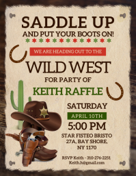 Beige wild west party invite flyer Volante (Carta US) template