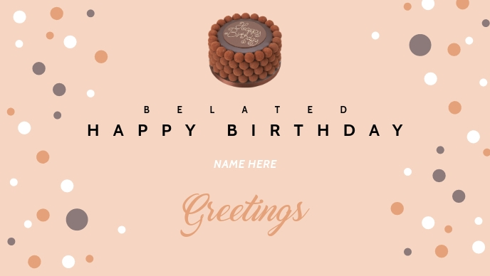 Belated Happy Birthday Wishes Template Vidéo de couverture Facebook (16:9)