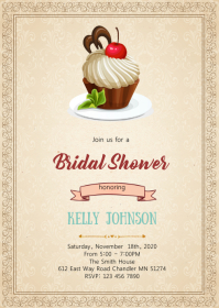 Berries And Chocolate shower invitation A6 template