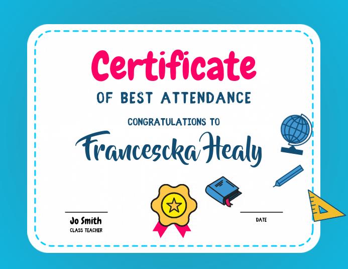 foto de Best Attendance Certificate Template PosterMyWall