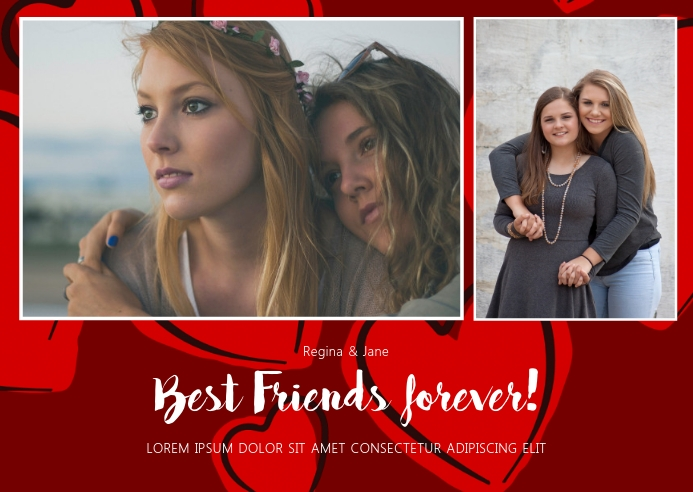 Best Friends Valentines Day Card Template ไปรษณียบัตร