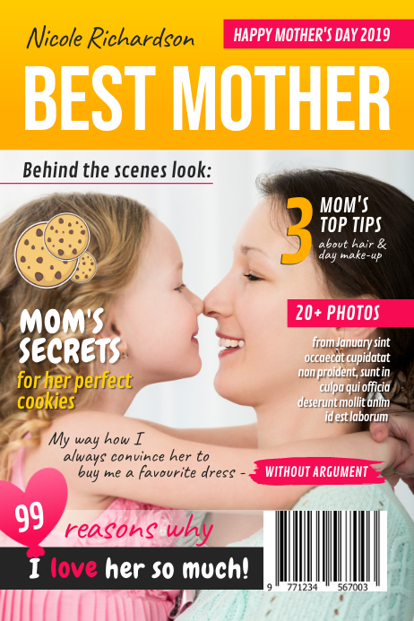 Best Mom Wish Mother's Day Magazine Cover Poster