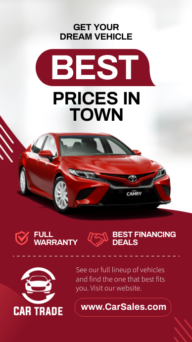 Best price in town car dealership Instagram S template