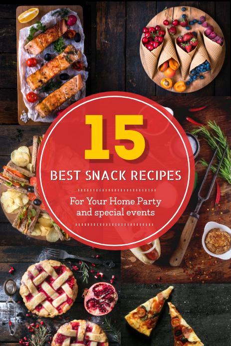 Best Snack Recipes Pinterest Graphic Pinterest-grafik template