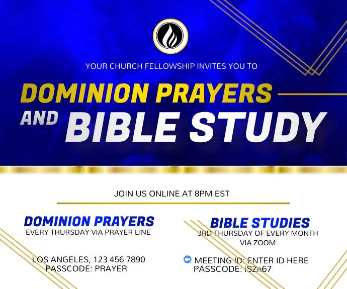 Bible Study and Prayer Fellowship 中型广告 template