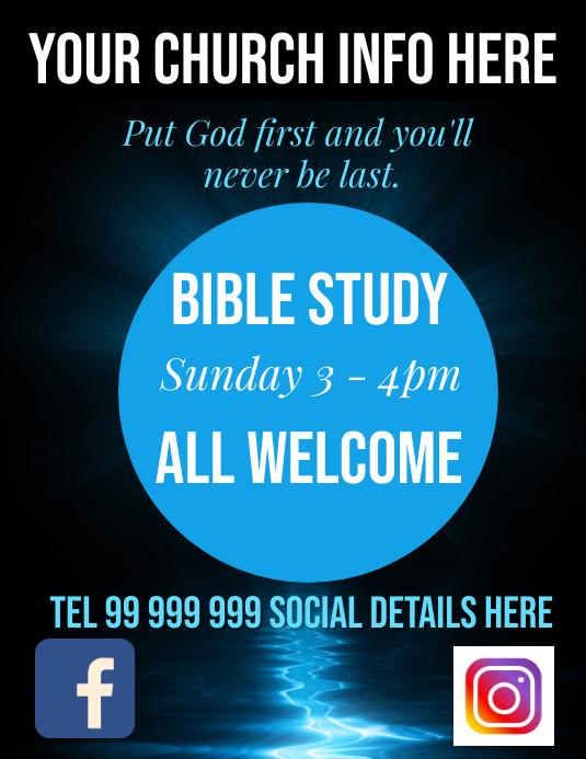 bible study 传单(美国信函) template