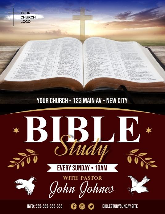 BIBLE STUDY FLYER 传单(美国信函) template