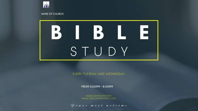 BIBLE STUDY FLYER Facebook-omslagvideo (16: 9) template