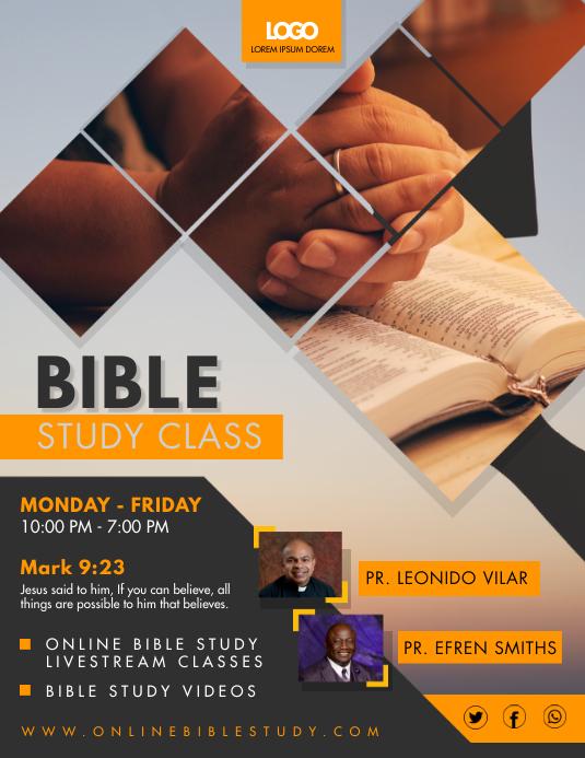 Bible Study Livestream Video Sessions Flyer 传单(美国信函) template