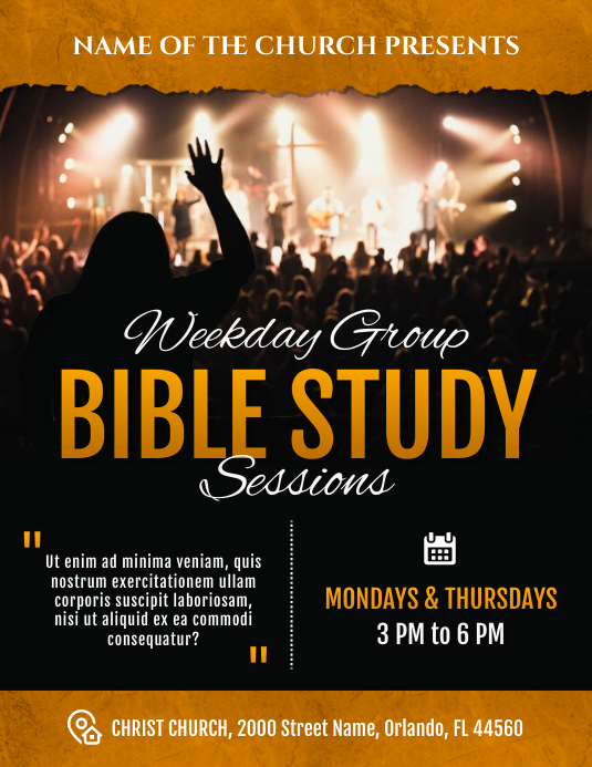 Bible Study Weekly Sessions Church Flyer