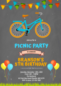 Bicycle birthday invitation A6 template