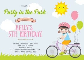 Bicycle birthday party invitation A6 template