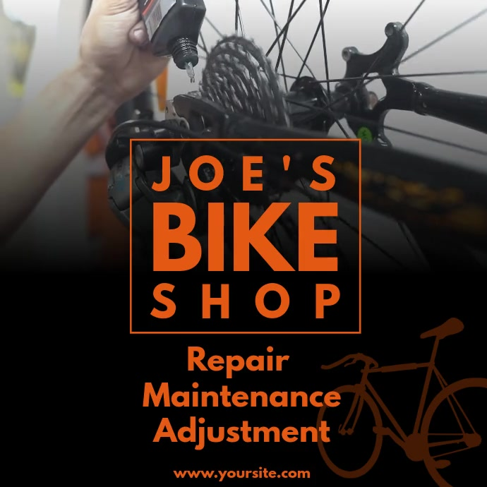 Bicycle repair shop video ad Instagram na Post template
