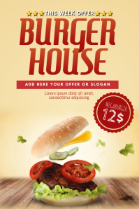 Big Burger offer Flyer Template for burger restaurant