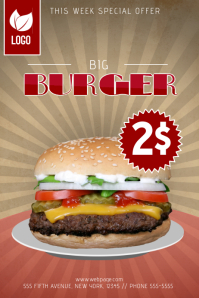 big burger sale promotion flyer template fast food