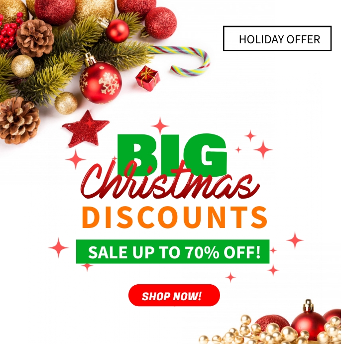 Big Christmas Discounts Sale Ad Template Instagram Post
