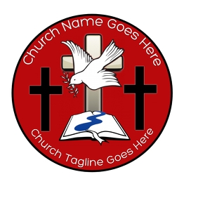 Big Dove cross Red and black church logo