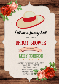 Big hat derby bridal shower invitation