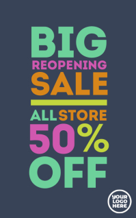 Big reopening clearance sale banner poster Обложка Kindle template