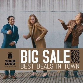 big sale advert store fashion shop promo square dancing
