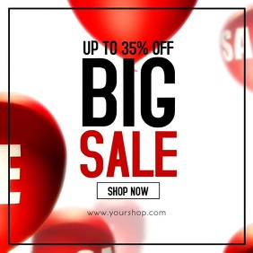 BiG Sale Balloons Red Promotion Template Shop
