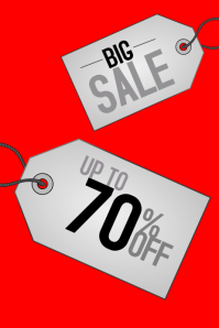 Big sale red poster template with labels