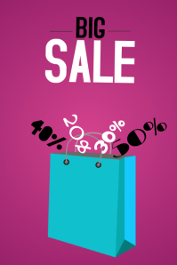 big sale shopping bag purple landscape template