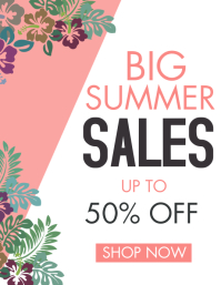 big summer sales up to 50% off design templat Folheto (US Letter) template