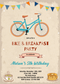 Bike and breakfast birthday theme invite A6 template