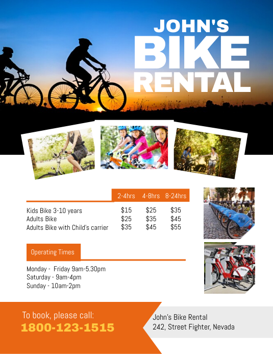 bike rental hire flyer template postermywall