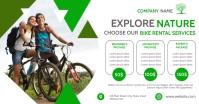 bike rental services white and green colors t Anuncio de Facebook template