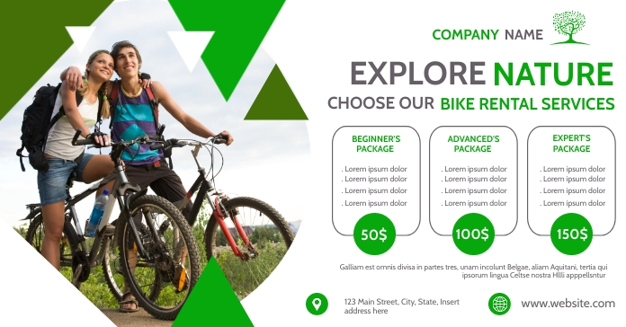 bike rental services white and green colors t Facebook Ad template
