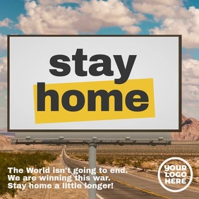 Billboard sign Stay Home message template