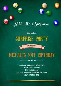 Billiard adult 40th birthday invitation A6 template