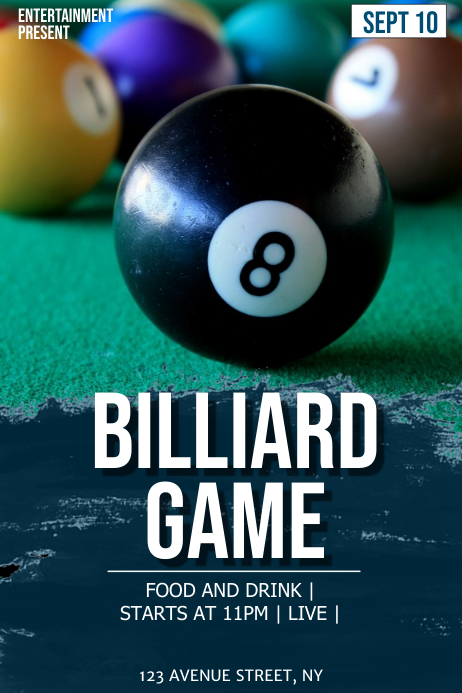 Billiard game flyer template